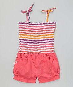 Love this Pink Stripe Tie Romper - Toddler on #zulily! #zulilyfinds