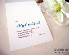 scheresteinundpapier-ruhestand-3 Place Cards, Place Card Holders, Lettering, Cards, Going Away, Quotes, Drawing Letters, Texting