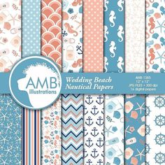 It's the break f dawn and I am bringing my hubby for breakfast so I have to hurry up... I've made this pack this morning... to go with my Floral beach wedding nautical clipart pack... wow! try to say that in one shot.loolllll!  So here are the matching papers!  Let me know what you think!  If you are interested they are here : http://etsy.me/1W6X5ny  #ambillustrations #scrapbooking #crafters #clipart #digital papers #digital designer #etsy #craft #cricut #planners #wedding #beachwedding…