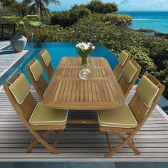 Royal Teak Collection Sailor 6 Person Teak Dining Set W/ 78 Inch... ($3,267) ❤ liked on Polyvore featuring home, outdoors, patio furniture, outdoor patio sets, outside folding chairs, outdoors folding chairs, outside table and chairs and folding chairs