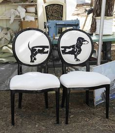 Furniture:     La Casita Home Decor's silk-screened chairs ($450 each) pair Louis XVI sophistication with a healthy sense of humor, courtesy of a graphic dachshund silhouette.