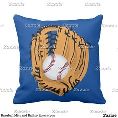 Baseball Mitt and Ball Throw Pillow  by #Sports4you at #Zazzle #Gravityx9 #homedecor -   Baseball is cradled inside a baseball glove. Hey Baseball Players and Fans!