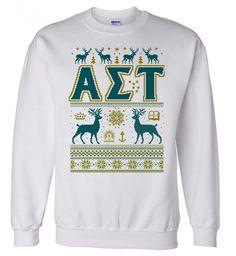Alpha Sigma Tau Ugly Christmas Sweater Crewneck Sweatshirt from GreekGear.com