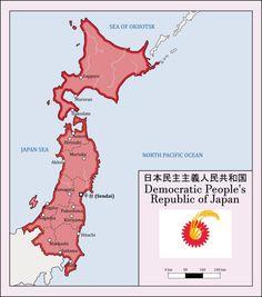 Democratic People's Republic of Japan Alternate Worlds, Alternate History, Imaginary Maps, Communist Propaganda, Birthday Bag, Aomori, Yamagata, Sendai, Fantasy Map