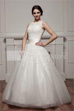 White Portrait Satin/Fine Netting Floor-length A-line Wedding Dresses Wholesale Price: US$319.99