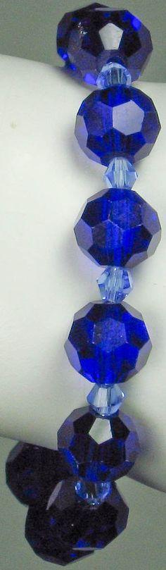 Deep Cobalt Blue Crystal Bracelet Stretch by VioletJewelry on Etsy, $10.00