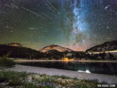 Happy New Year! Here's some celestial fireworks, a composite of 40 meteors over Lassen Peak in Northern California