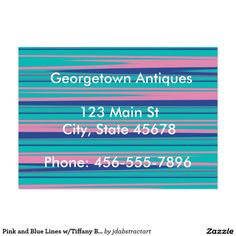 Pink and Blue Lines w/Tiffany Blue Background Large Business Card