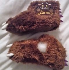 "My Little Yum-Yum is not a happy bunny right now. His new gruffalo slippers have a hole in them already. He said there was ""too much blood"", so to prevent any more blood loss, he said t…"