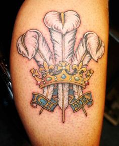 Welsh Three Feathers tattoo. Love!