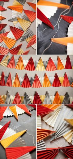 Paper Fan Garland DIY | Oh Happy Day! Would be easy with my Martha Stewart scoring board and a Cropadile to make the holes.