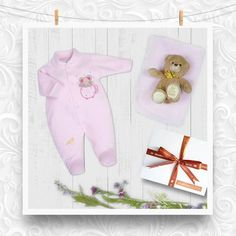 481e5eea3695 A luxury baby girl gift set containing a pink velour sleep suit