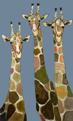 """Three Giraffes in Blue"" Animal Wall Art by Eli Halpin for GreenBox Art + Culture 32x54 (20% off thru 5/12)"