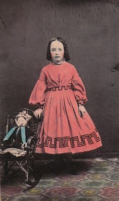 young girl and her doll  circa 1860