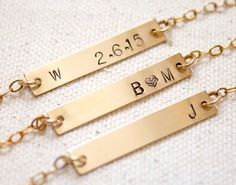Gold Bar Necklace Gold Bar Initial Necklace by MiyulaStudio