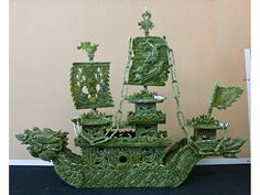 Chinese Hand Carved Jade Dragon Boat Sculpture.