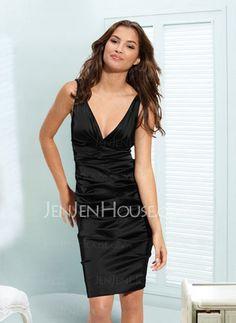 Little Black Dresses - $99.99 - New Style Sheath V-neck Knee-Length Satin  With Ruffle (043004241) http://jenjenhouse.com/pinterest-g4241
