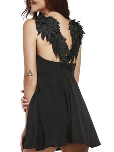 Black winged goth dress - this would also be perfect for Halloween! #goth #dress