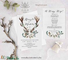 Agancsos Meghívó szett, Esküvői Meghívó, Erdei Esküvő, Vadász Esküvő,Virágos Meghívó (Studioin) - Meska.hu Place Cards, Place Card Holders, Wedding Ideas, Wedding Ceremony Ideas