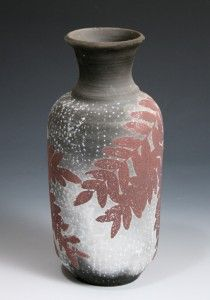 Through a happy accident, Susan Kotulak adapted a screen printing technique for use on pottery, such as the vase above.