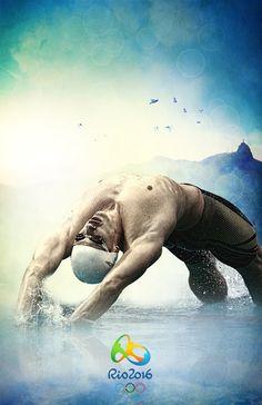Olympics Rio 2016 by Ricky Rocha Loures, via Behance swimming!!!