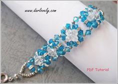 Bracelet PDF Tutorial Pattern - Blue Square Flower Bracelet (BB026) - Beading Jewelry PDF Tutorial (Digital Download)