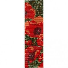 POPPIES - PEYOTE beading pattern for cuff bracelet (buy any 2 patterns - get 3rd FREE)