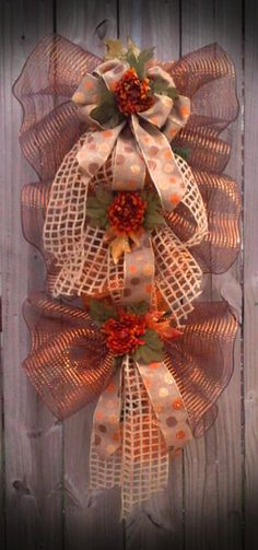Fall Deco Mesh Swag by WreathsbyDeSoto on Etsy, $50.00