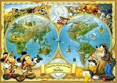 "Jigsaw Puzzles 2000 Pieces ""Mickey's World Map"" / Disney / Tenyo"