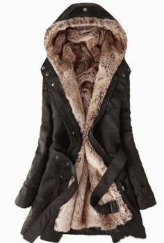 Comfy fur black hooded jacket