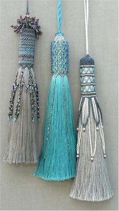 Clare Matthews creates hand woven rugs and tapestries for walls and floors and Passementerie, hand beaded tassels to decorate and accessorize. Passementerie, Bead Weaving, Diy Jewelry, Jewellery, Tassel Necklace, Necklaces, Tassels, Creations, Textiles