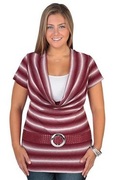 plus size deep cowl neck 2fer top with blurred stripes and half belt
