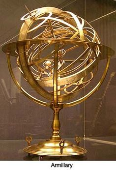 An armillary sphere (variations are known as spherical astrolabe, armilla, or armil) is a model of objects in the sky (in the celestial sphere), consisting of a spherical framework of rings, centred on Earth, that represent lines of celestial longitude and latitude and other astronomically important features such as the ecliptic. As such, it differs from a celestial globe, which is a smooth sphere whose principal purpose is to map the constellations.