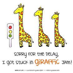 #WordsOfLife is me and @iqbalhape listening to life creatures telling us many things.  This is how GIRAFFE being delayed  This is #WordsOfLife  #art #illustation #animal #giraffe #Biology #Biologeek #WordsOfLife #Punsworld Cute Puns, Funny Puns, Funny Stuff, Cheesy Lines, Funny Fruit, Animal Puns, Funny Illustration, Illustrations, Science Humor