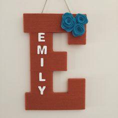 Custom Name Letters, Nursery Letters, Door Letters, Yarn Wrapped Letter, Felt Flower Decorated Letters, Wall Letters, Yarn Letters, Handmade by StargazerHomeDecor on Etsy
