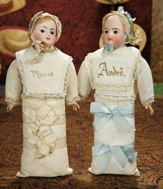 """The Memory of All That - Marquis Antique Doll Auction: 86 A Pair of French Bisque-Head Babies """"Andre"""" and """"Marie"""" as Candy Containers"""