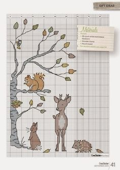 Animal Tales cross stitch chart of 2 Just Cross Stitch, Cross Stitch Animals, Counted Cross Stitch Patterns, Cross Stitch Charts, Cross Stitch Designs, Cross Stitch Embroidery, Embroidery Patterns, Filet Crochet, Cross Stitching
