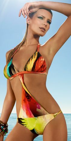 Emmy DE * Zeki Swimwear 2014 Multicolored Halter Monokini