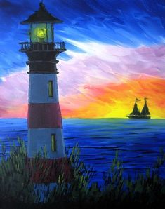 We host painting events at local bars. Come joi… Paint Nite. We host painting events at local bars. Come join us for a Paint Nite Party! Simple Acrylic Paintings, Easy Paintings, Sunset Paintings, Beautiful Paintings, Lighthouse Painting, Summer Painting, Beginner Painting, Pictures To Paint, Painting & Drawing