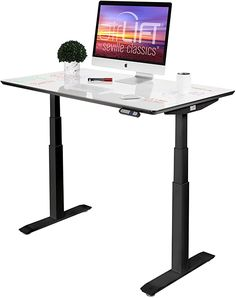 """Amazon.com: Seville Classics AIRLIFT Pro S3 54"""" Whiteboard Top Commercial-Grade Electric Adjustable Standing Desk (51.4"""" Max Height) Table, Black/Dry-Erase: Home & Kitchen Electric Standing Desk, Whiteboard, Seville, Herman Miller, Home Kitchens, Ikea, Commercial, Amazon, Classic"""