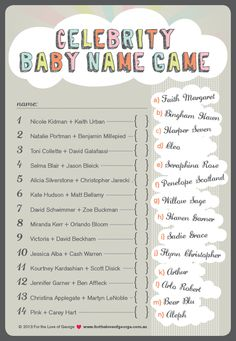 Fun celebrity baby name game for a Baby Shower #babyshower