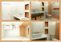 Banheiro pastilhas laranja