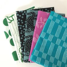 Lucky by Lotta Jansdotter for Windham Fabrics, 6 Fat Quarter Bundle of Purple/Green/Blue, Crafting, Quilting, Sewing Fabric