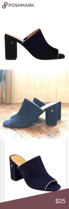 Tommy Hilfiger Sayna Slide Heel Mule Brand new! Suede, color navy blue. Never worn. Amazing for jeans, dress, work, play 💃🏼  Size 9, but work on 8.5. (That's my size and they fit great). The 9 runs small so I'd say even an 8/8.5 would work).  4 inch heel 👡 Tommy Hilfiger Shoes Mules & Clogs