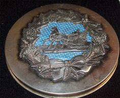 Tin Can Christmas cookie cake candy COPPER POPPER 3D raised Sleigh horse pewter? #copperpopper