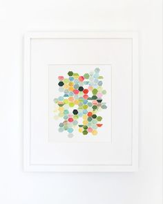 Hexagons in Summer Watercolor Art Print by YaoChengDesign on Etsy