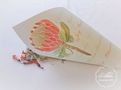 Confetti Cone from the Protea stationery suite - Ribbon Wedding Stationery, Johannesburg. Protea Wedding, Wedding Flowers, Ribbon Wedding, Confetti Cones, Creative Studio, Wedding Stationery, Wedding Things, Paper, Wedding Ideas