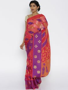 Buy Bunkar Red & Purple Banarasi Traditional Saree -  - Apparel for Women from Bunkar at Rs. 2049