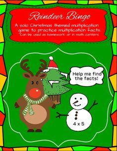 Multiplication Games - Reindeer Bingo #editableprintables #freeprintables