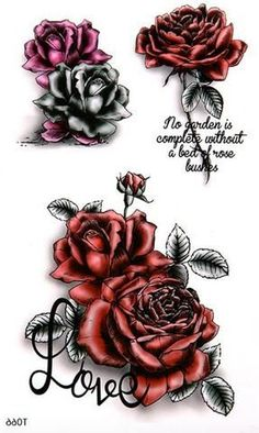 Rose Temporary Tattoo, Floral Tattoo, Gothic Tribal Dark Red Black Quote Shoulder Back Neck Chest Arm Angeline Jolie Kylie Jenner Sexy